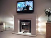 Burley Electric Fire in Marble & Granite Fireplace with Lights, Tarleton, Preston, Lancashire