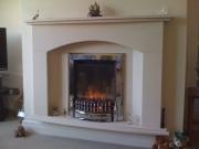 Dimplex Exbury Electric Fire in Portuguese Limestone Fireplace with Lights, Tarleton, Preston, Lancashire