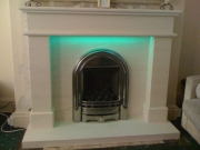 Be-Modern Gas Fire in Portuguese Limestone Fireplace with LED Lights 1, Marshside, Southport, Mersey