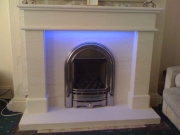 Be-Modern Gas Fire in Portuguese Limestone Fireplace with LED Lights 4, Marshside, Southport, Merseyside