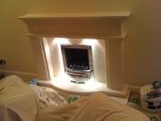EKO 3030 Gas Fire in Portuguese Limestone Fireplace with Lights, Leyland, Preston, Lancashire