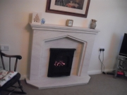 Gazco E-Box Gas Fire with Portuguese Limestone Fireplace with Lights, Birkdale, Southport, Merseyside