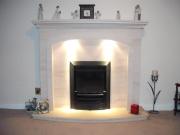 Gazco High Efficiency Gas Fire in Portuguese Limestone Fireplace with Lights, Penwortham, Preston