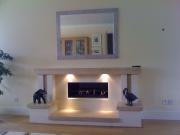 Gazco Studio 2 Gas Fire in Portuguese Limestone & Travertine Fireplace with Lights 2, Mawdsley