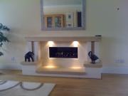Gazco Studio 2 Gas Fire in Portuguese Limestone & Travertine Fireplace with Lights 3, Mawdsley