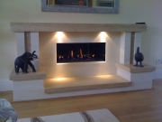 Gazco Studio 2 Gas Fire in Portuguese Limestone & Travertine Fireplace with Lights, Mawdsley