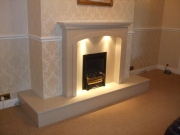 Magiglo Gas Fire in Marble Fireplace with Lights After, Tarleton, Preston, Lancashire