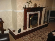 Magiglo Gas Fire in Marble Fireplace with Lights Before, Tarleton, Preston, Lancashire