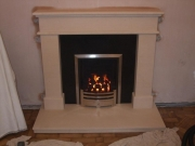 Magiglo Gas Fire in Portuguese Limestone Fireplace with Lights, Aughton, Ormskirk, Lancashire