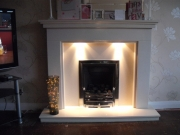 Magiglo Gas Fire in Portuguese Limestone Fireplace with Lights, Marshside, Southport, Merseyside