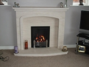 Magiglo Gas Fire in Portuguese Limestone Fireplace with Lights, Ormskirk, Lancashire