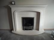 Magiglo Gas Fire in Portuguese Limestone Fireplace with Lights, Tarleton, Preston, Lancashire