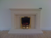 Magiglo Gas Fire in Portuguese Limestone with Lights, Churchtown, Southport, Merseyside