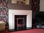 Portuguese limestone and granite fireplace, Clitheroe, Lancs