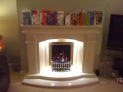 Verine Gas Fire in Marble Fireplace with Lights, Croston, Chorley, Lancashire