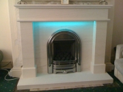 ​Be-Modern Gas Fire in Portuguese Limestone Fireplace with LED Lights 2, Marshside, Southport, Merseyside
