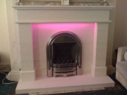 ​Be-Modern Gas Fire in Portuguese Limestone Fireplace with LED Lights 3, Marshside, Southport, Merseyside