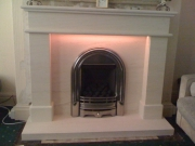 Be-Modern Gas Fire in Portuguese Limestone Fireplace with LED Lights 5, Marshside, Southport, Merseyside
