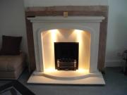 EKO 3030 Gas Fire in Portuguese Limestone Fireplace with Lights, Birkdale, Southport, Merseyside