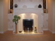 EKO 3030 Gas Fire in Portuguese Limestone Fireplace with Lights, Penwortham, Preston, Lancashire
