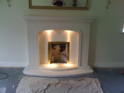 Gas Fire in Portuguese Limestone Fireplace with Lights, Formby, Merseyside
