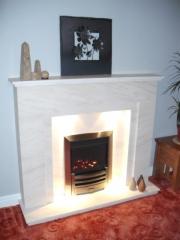 Gazco E-Box Gas Fire in Portuguese Limestone Fireplace with Lights, Tarleton, Preston, Lancashire