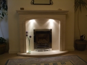 Gazco Glass Fronted Gas Fire in Portuguese Limestone Fireplace with Lights, Walmer Bridge, Preston,