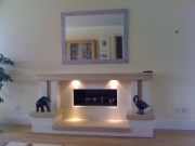 Gazco Studio 2 Gas Fire in Portuguese Limestone & Travertine Fireplace with Lights 2, Mawdsley
