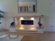 Gazco Studio 2 Gas Fire in Portuguese Limestone & Travertine Fireplace with Lights 3, Mawdsley