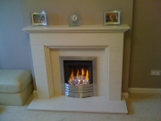 Legend Vantage Gas Fire in Portuguese Limestone Fireplace with Lights, Formby, Merseyside