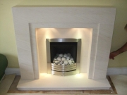 Legend Vantage Gas Fire in Portuguese Limestone Fireplace with Lights, Ormskirk, Lancashire