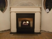 Magiglo Gas Fire in Chesneys Limestone Fireplace After, Churchtown, Southport, Merseyside