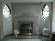 Magiglo Gas Fire in Chesneys Limestone Fireplace Before, Churchtown, Southport, Merseyside