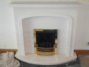 Magiglo Gas Fire in Portuguese Limestone Fireplace with Lights, Longton, Preston, Lancashire