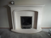 Magiglo Gas Fire in Portuguese Limestone Fireplace with Lights, Tarleton, Preston, Lancashire