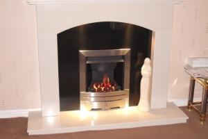 EKO 3020 Gas Fire in Marble Fireplace, Banks, Southport, Merseyside