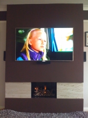 Hole In The Wall Fireplace with Travertine, Leyland,