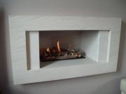 Hole in the Wall Gas Fire with Portuguese Limestone Fascia, Much Hoole, Preston, Lancashire