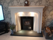 Yeoman CL3 Multi-fuel Stove with Cast-Iron Top in Limestone Fireplace, Fulwood, Preston