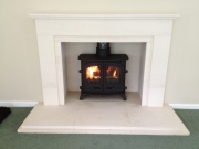 Yeoman Exe Flat Top Multi Fuel in Portuguese Limestone Fireplace Churchtown Southport